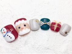 クリスマスネイル☆ 雪だるまとサンタさん。