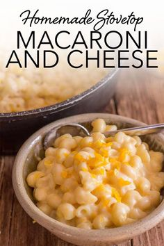 Homemade Stovetop Macaroni and Cheese, there's nothing like it. This delicious comfort food is a fast and easy, double cheese, creamy Macaroni Recipe that uses on hand pantry staples and, yes, it's better than baked. #macaroniandcheese #pasta #cheese #comfortfood #dinner #pantrystaples