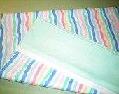 Magic Pillow Case - Wavy Multi-Color Stripe with White Trim and Mint Green Cuff