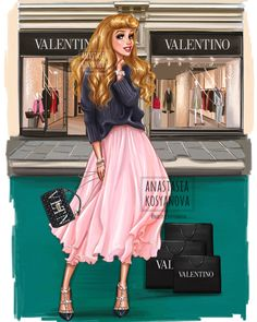 Anastasia Kosyanova paints the Disney princesses as fashionistas - clone blo . - The Trend Disney Cartoon 2019 All Disney Princesses, Disney Princess Drawings, Disney Princess Art, Princess Aurora, Disney Fan Art, Disney Girls, Disney Drawings, Art Drawings, Drawing Disney