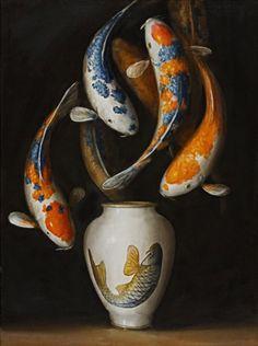 """""""Koi Vase"""" - David Kroll, 2011, oil on linen {contemporary artist #surreal still life painting}"""