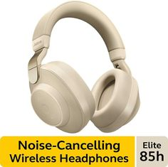 Jabra Elite Wireless Noise-Canceling Headphones, Gold Beige - Over Ear Bluetooth Headphones Compatible with iPhone and Android - Built-in Microphone, Long Battery Life - Rain and Water Resistant Wireless Noise Cancelling Headphones, Gaming Headphones, Beats Headphones, Over Ear Headphones, Tesla Technology, Sound Blaster, Android, Rain, Beige