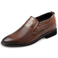 093d9a73 Brown Elevator Formal Loafers Soft Cowhide Men Business Shoes Increase  2.6inch / 6.5cm