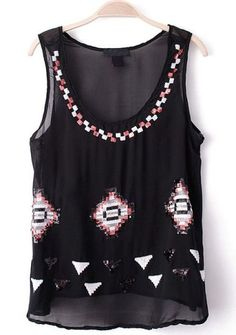 Black Sleeveless Sequined Embroidery Chiffon Vest pictures