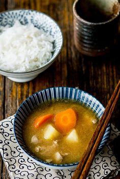 Tonjiru (Japanese pork miso soup) (Pork, soy sauce, mirin, dashi, onion, carrot, potatoes, white miso)