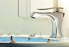 A sink is utilised as a swimming pool by a group of tiny people...