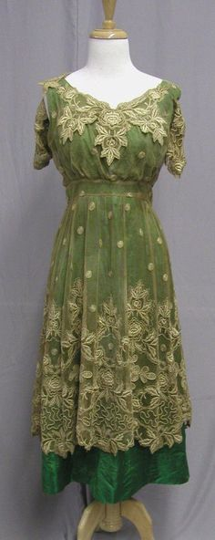 1915 Tea Dress with Chiffon Overlay Early Vintage