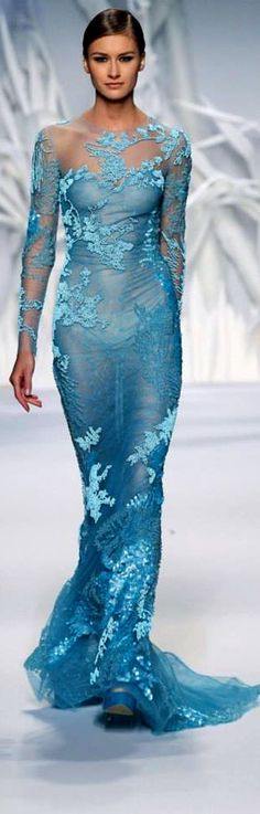 Abed Mahfouz Fall Winter 2014 Haute Couture.  love the colour of this dress ✿ ✿´¯`*•.¸¸✿  :*~❥✿  ❤ O
