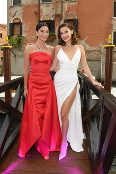 VENICE, ITALY - JUNE 30:  Lily Aldridge and Bella Hadid attend Bvlgari Party at Scuola Grande della Misericordia on June 30, 2017 in Venice, Italy.  (Photo by Venturelli/Getty Images for Bvlgari ) via @AOL_Lifestyle Read more: https://www.aol.com/article/entertainment/2017/07/01/bella-hadid-risks-wardrobe-malfunction-in-sexy-dress-for-bulgari/23011895/?a_dgi=aolshare_pinterest#fullscreen