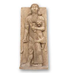 Escultura de Gilgamesh, héroe sumerio y rey de Uruk. Reproducción arqueológica de escultura sumeria. Idóneo para un regalo exclusivo.