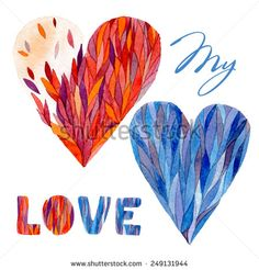 Vector watercolor illustration. Can be used for Valentine's day, wedding, other holiday. Watercolor hearts on the white background