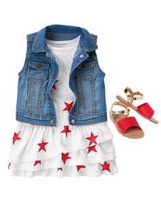 Crazy Cool Looks Baby Girls Clothing at Crazy 8 Denim vest Little Girl Outfits, Little Girl Fashion, My Little Girl, Toddler Fashion, Toddler Outfits, Kids Fashion, Baby Kind, Cute Baby Girl, Baby Girls