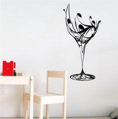 LARGE Broken Wine Glass Wall Decals Sticker Paper Home Decor Dining Kitchen Room #Budgettank #Modern