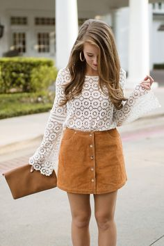 The perfect suede skirt and heels   how to style a suede skirt   fall fashion   fall style   styling a skirt for fall    A Lonestar State of Southern