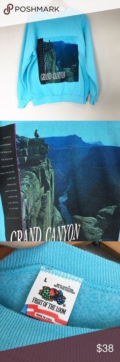 Vintage Grand Canyon national park sweatshirt Size large 90's vintage Grand Canyon nation park crew neck sweatshirt. Perfect t condition super soft inside. Booker t Washington quote. Sky blue.  Length- 27.5 in Pit to pit- 21 or 42 in Vintage Sweaters Crew & Scoop Necks