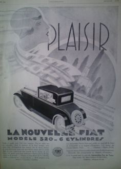 Etsy の Art Deco Vintage French Ad Fiat Plaisir by reveriefrance