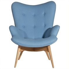 AEON Furniture Jules Fabric Tufted Lounge Chair (€945) ❤ liked on Polyvore featuring home, furniture, chairs, accent chairs, blue, tufted accent chair, fabric accent chairs, plush chair, blue fabric chair and upholstered furniture