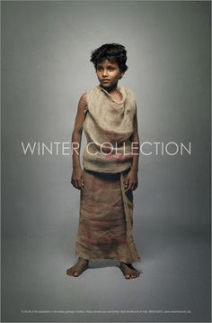 It's the winter months that takes its most violent toll on India's poor. After long hot summers, the poor are really not ready for the extreme cold that follows. On top of this, street children and beggars are a blind spot we rarely acknowledge. So what we did was dress up street kids in their usual everyday clothes (made from discarded newspapers, sacking, cardboard) and photographed them walking the ramp. This juxtaposition of the usual in an unusual setting, startled and woke people up. Th...