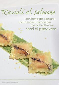 Ravioli al salmone con burro allo zenzero, crema di basilico alle mandorle, scorzetta di limone e semi di papavero