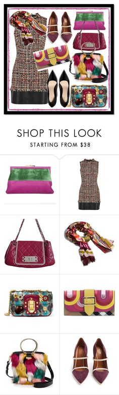 """""""Basic Brown Tweed Dress With Black Leather Trim"""" by kareng-357 ❤ liked on Polyvore featuring Roberta Di Camerino, Alexander McQueen, Chanel, Vera Bradley, Dolce&Gabbana, Burberry, Milly and Malone Souliers"""