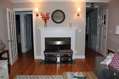 Similar-ish floor color and finish as ours-----Benjamin Moore Revere Pewter