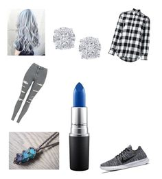 """Grey stormy bipolar girl look"" by thegamingcookie on Polyvore featuring Golden Goose, Topshop, NIKE, MAC Cosmetics and Effy Jewelry"