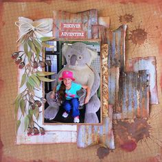 Kaisercraft - Old Mac - Adriana Bolzon Large Scrapbook, Paper Bag Scrapbook, Scrapbook Albums, Scrapbooking Layouts, Scrapbook Designs, Smash Book Pages, How To Make A Paper Bag, Farm Layout, Paper Bag Album