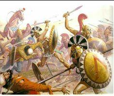 Gli spartani presi da tutti i lati dai persiani resistono con tutte le armi possibili rimaste