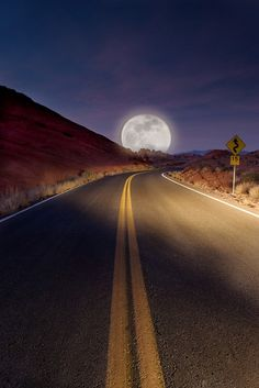 On A Dark Desert Highway...  Moon Road, Tucson, Arizona