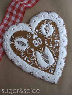 Gingerbread heart, Czech tradition, Czech, Hungarian embroidery, Valentine's Day, Birthday 11 inch gingerbread heart/28 cm pernikove srdce   by Michaela Canady  www.facebook.com/pages/SugarSpice/209578815803651