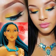 oh-so-pretty Pocahontas-inspired design. This oh-so-pretty Pocahontas-inspired design. Pocahontas Makeup, Disney Eye Makeup, Disney Inspired Makeup, Disney Princess Makeup, Disney Pocahontas, Pocahontas Costume, Cute Makeup, Makeup Looks, Hair Makeup