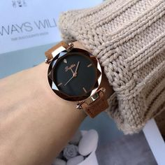 Luxury Crystal Watch for Women, Dress Fashion Rose Gold Quartz Wrist Watches Crystal Dress, Wrist Watches, Quartz Watch, Dress Fashion, Quartz Crystal, Window, Rose Gold, Band, Crystals