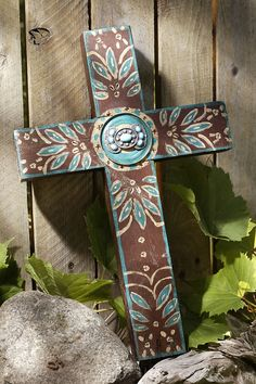 Rustic Chocolate Brown Concho Cross with Turquoise – Celebrate Faith