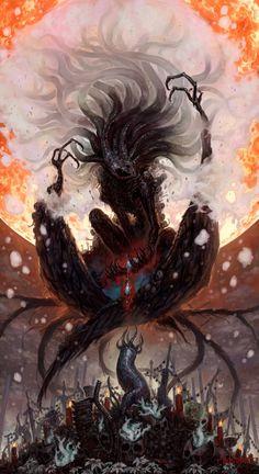 Bloodborne, The Great Ones Sif Dark Souls, Arte Dark Souls, Bloodborne Concept Art, Bloodborne Art, Arte Horror, Horror Art, Dark Fantasy Art, Dark Art, Lovecraftian Horror