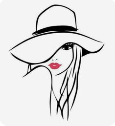 Imagens, fotos stock e vetores similares de illustration of women long hair with a hat, retro logo women face on white background, vector - 501309841 Pencil Art Drawings, Art Drawings Sketches, Illustration Sketches, Easy Drawings, Hair Illustration, Silhouette Art, Woman Silhouette, Woman Face, Female Art