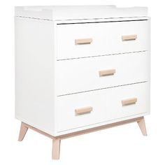 Babyletto Scoot 3-Drawer Changer Dresser - White/Washed Natural : Target