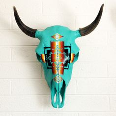Hand Painted Bison Skull by AlexandraStudio on Etsy, $485.00