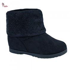 Bottines compensées femme noires aspect daim intérieur fourré   strass-38 -  Chaussures primtex ( 81aa45fe91d