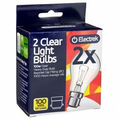 Pack of 2 Heavy Duty light bulbs. Available in 100W and 60W with bayonet cap fittings.