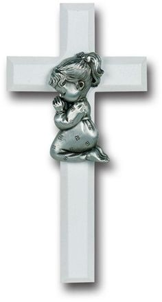 Give this White Cross to a young Catholic girl as a reminder that prayer leads to a life of happiness. Sturdy white plastic accented by a pewter image of a girl kneeling in prayer it also serves as a simple and attractive Baptism favor.