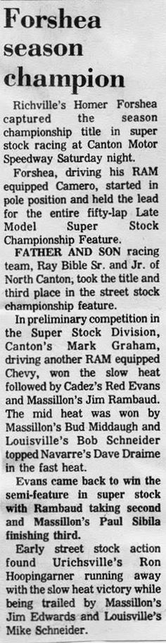 Newspaper article on Bud's son Mark driving their Camaro Stock Car at Canton Motor Speedway in 1975.