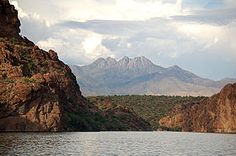 View of Four Peaks from Saguaro Lake near Mesa, AZ
