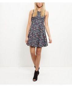 Black Ditsy Floral Print Sleeveless Skater Dress  | New Look