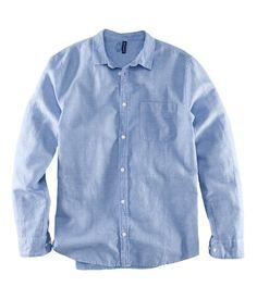 Linen blend shirt in blue