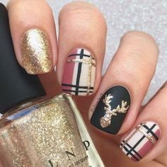Xmas Nails, Holiday Nails, Diy Nails, Cute Nails, Pretty Nails, Cute Fall Nails, Xmas Nail Art, Manicure Ideas, Ideas For Nails
