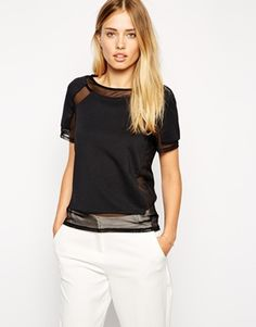 ASOS Top in Smart Fabric with Sheer Inserts
