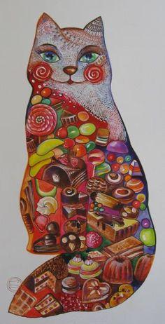 Vendu by Oxana Zaika Art And Illustration, Illustrations, Crazy Cat Lady, Cat Bedroom, Inspiration Art, Art Original, Cat Cards, Cat Colors, Here Kitty Kitty