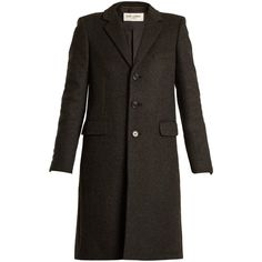 Single-breasted notch-lapel cashmere coat Saint Laurent... (€5.470) ❤ liked on Polyvore featuring outerwear, coats, cashmere coat, single-breasted trench coats, yves saint laurent, pure cashmere coat and wool cashmere coat