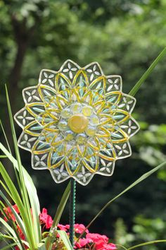 GARDEN plate flower and YARD recycled glass sun catcher sold on ETSY