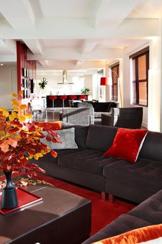 Bet On Black And Red For A Winning Combination: A Striking Look Is A Sure ·  Modern Living RoomsLiving Room BrownRed ...